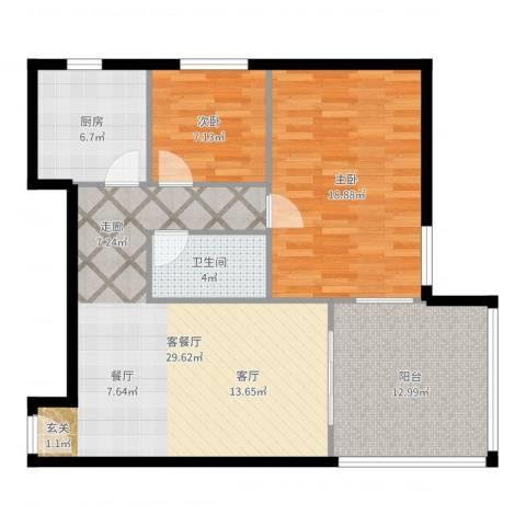 枫蓝国际公寓2室2厅1卫1厨99.00㎡户型图