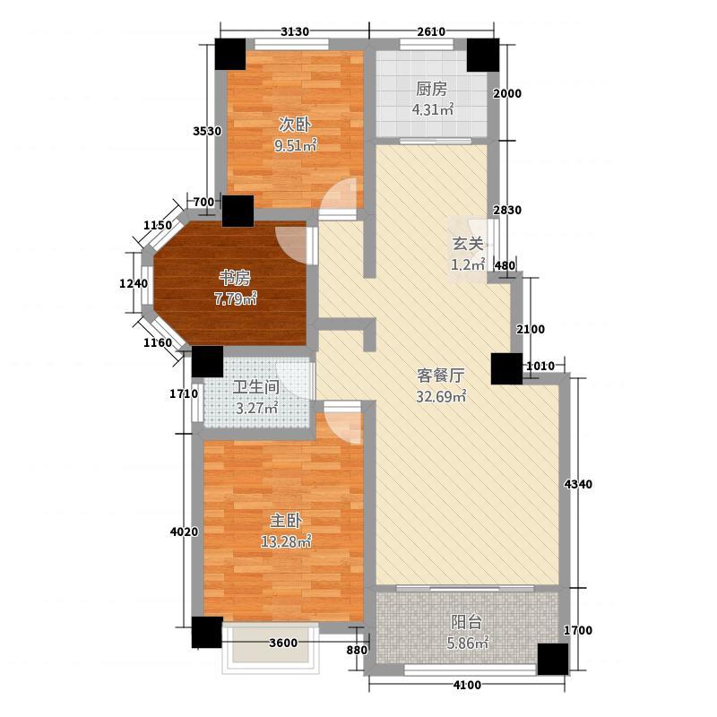 西班牙小镇11.18㎡户型3室2厅1卫1厨