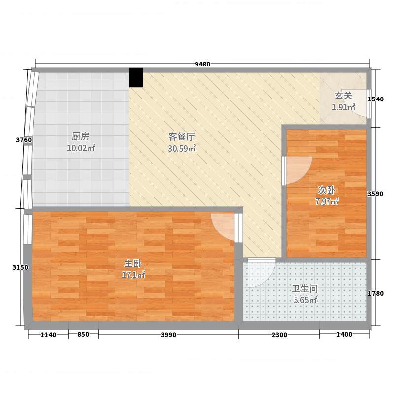 君悦白领公寓2.62㎡户型2室2厅2卫1厨