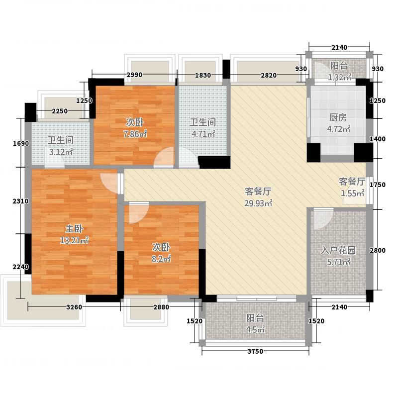 宝豪・御龙湾117.36㎡户型3室2厅2卫1厨