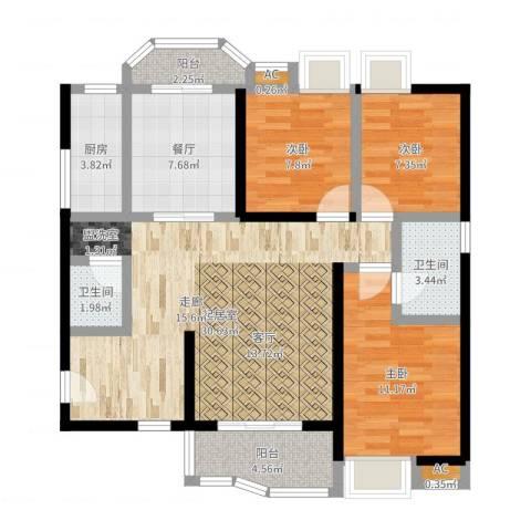 雅博世纪广场3室1厅2卫1厨102.00㎡户型图