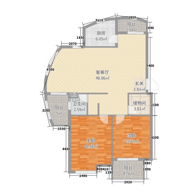 云水山庄2117.82㎡户型2室2厅1卫1厨