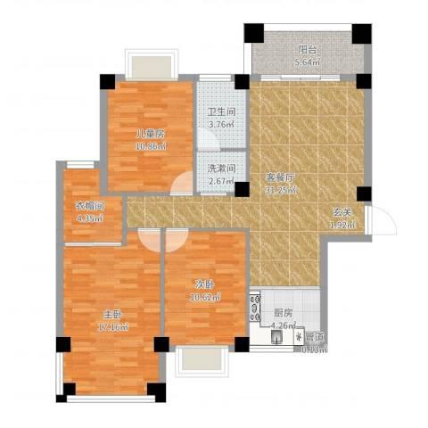 未来海岸系蓝水郡3室2厅3卫1厨110.00㎡户型图