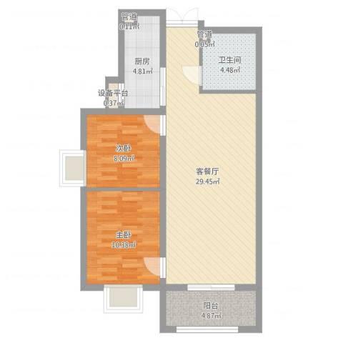 龙溪城2室2厅1卫1厨78.00㎡户型图