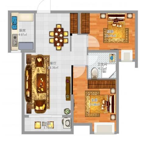 沂龙湾慧园2室1厅1卫1厨82.00㎡户型图