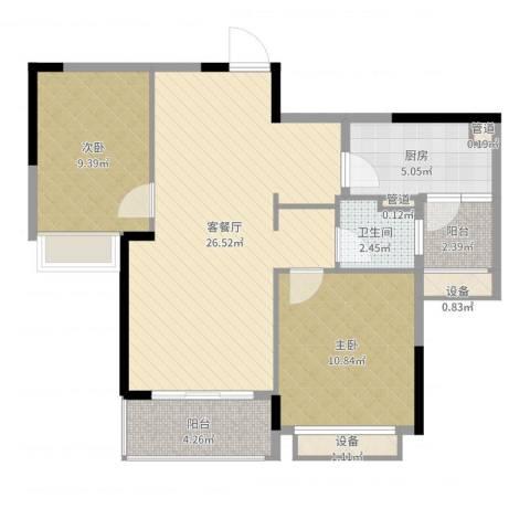 万科松山湖悦2室2厅1卫1厨79.00㎡户型图