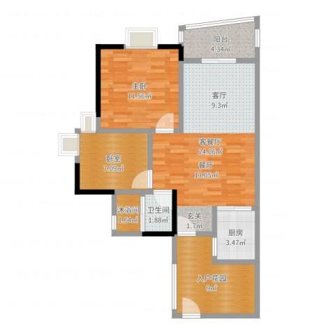 盛和新都会1室2厅1卫1厨79.00㎡户型图