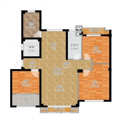 逸水园3室2厅1卫1厨114.34㎡户型图