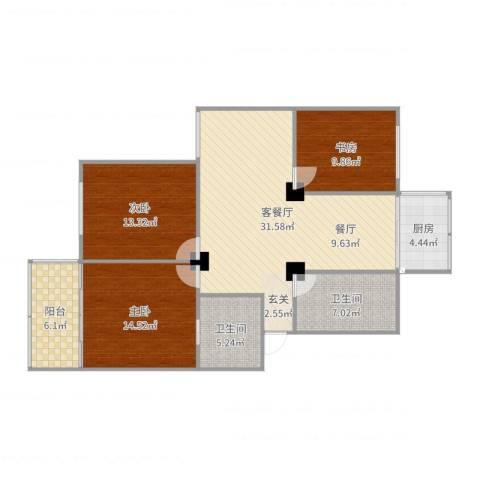 江城世家3室2厅2卫1厨115.00㎡户型图