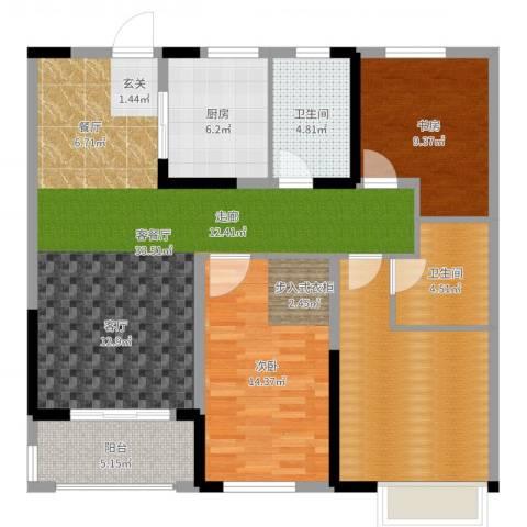 观湖壹号2室2厅2卫1厨114.00㎡户型图