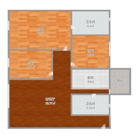 伟业楼3室2厅2卫1厨104.00㎡户型图