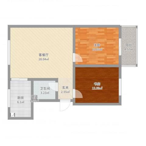 星河城2室2厅1卫1厨85.00㎡户型图