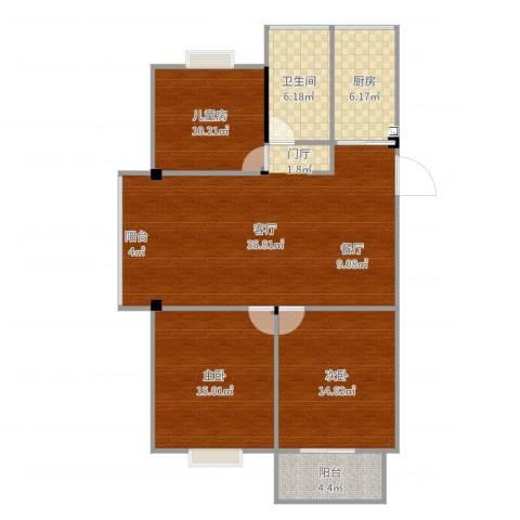 梅沁园3室1厅1卫1厨92.41㎡户型图