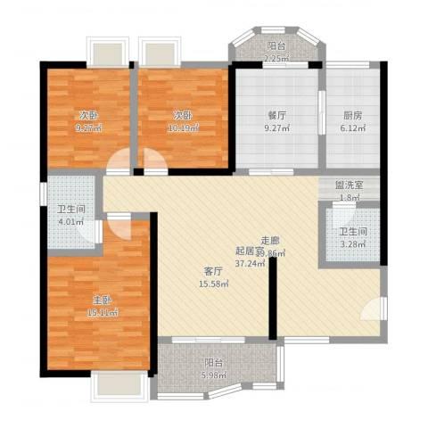 雅博世纪广场3室1厅2卫1厨128.00㎡户型图