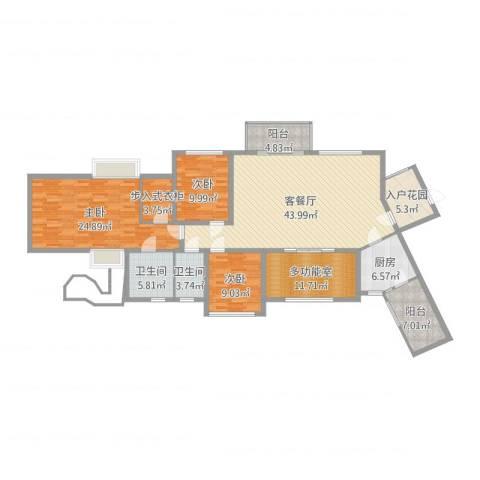 君汇华庭3室2厅2卫1厨171.00㎡户型图
