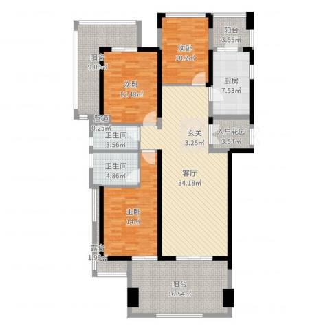 凤凰水城凤凰湾3室1厅2卫1厨152.00㎡户型图