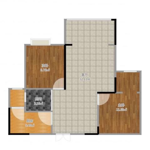 光华可乐小镇2室1厅1卫1厨81.00㎡户型图