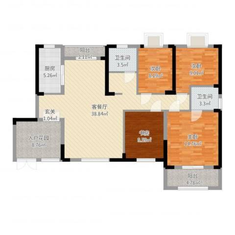 华仪富丽华城4室2厅2卫1厨135.00㎡户型图