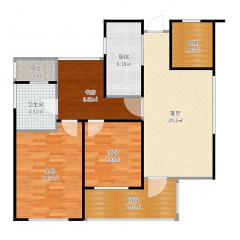绿城之江1号3室1厅1卫1厨95.00㎡户型图