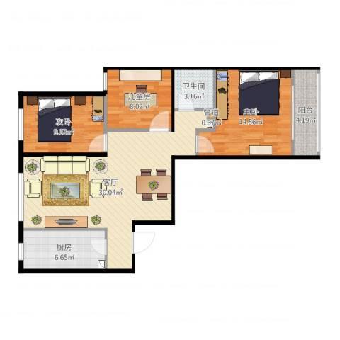 航天城小区3室1厅2卫1厨95.00㎡户型图