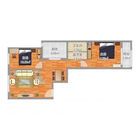 航天城小区2室3厅1卫1厨83.00㎡户型图