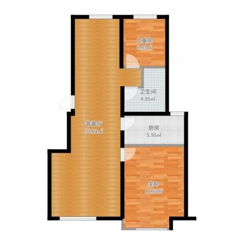 中信城2室2厅1卫1厨90.00㎡户型图