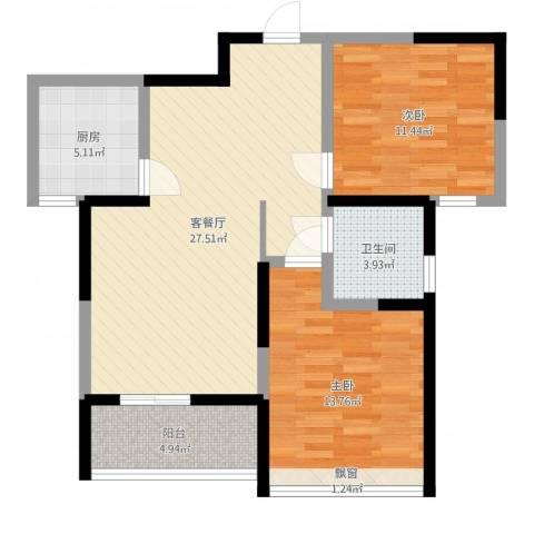 鸿泰嘉园三期2室2厅1卫1厨83.00㎡户型图