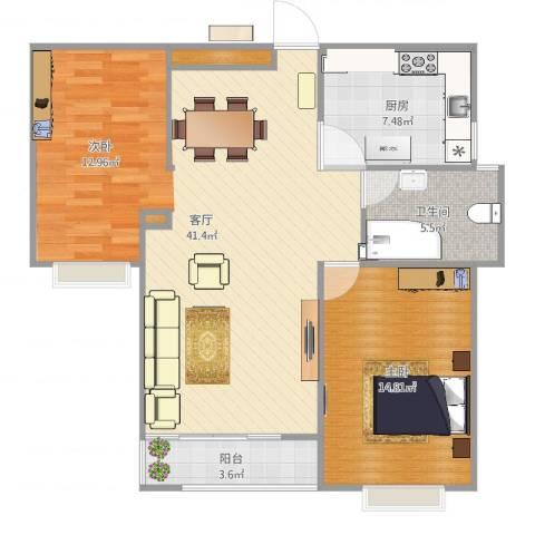 西苑华府1室1厅1卫1厨92.00㎡户型图