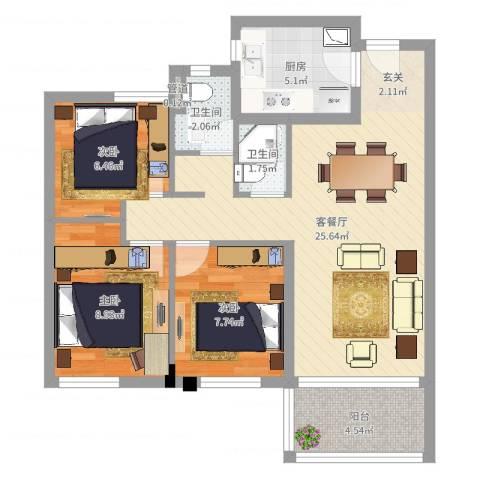 万科城花�苑3室2厅2卫1厨78.00㎡户型图
