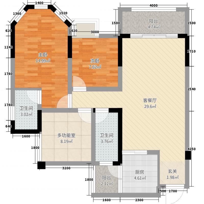 安岳中迪商业广场14.56㎡B1-01奇户型3室2厅2卫1厨