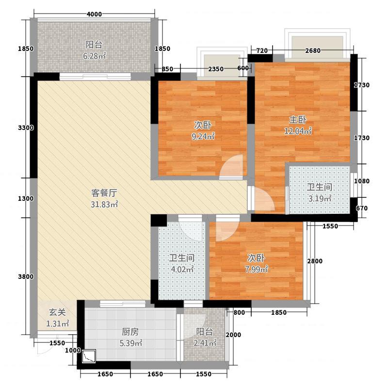 中韩广场16.22㎡户型3室2厅2卫1厨