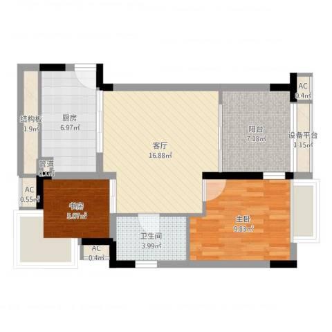 太湖天城2室1厅1卫1厨68.00㎡户型图