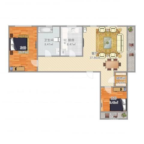 贝尔新村2室1厅1卫1厨110.00㎡户型图