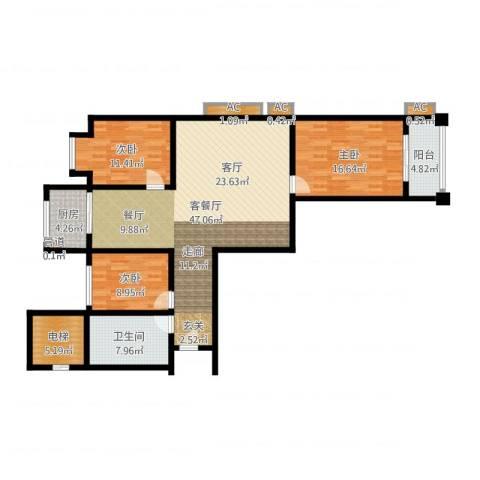 河畔景苑杰座3室2厅1卫1厨136.00㎡户型图