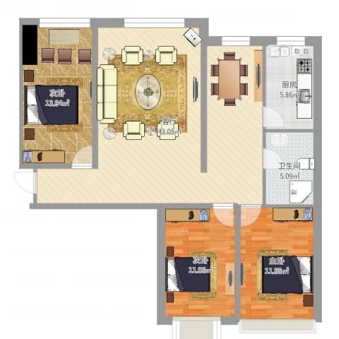 尚品林溪小区3室1厅1卫1厨114.00㎡户型图