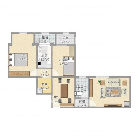 月季园小区2室1厅1卫1厨69.00㎡户型图