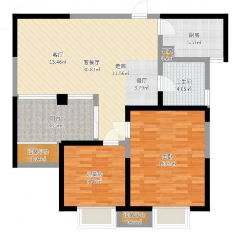 嘉德・水韵金阁2室2厅1卫1厨99.00㎡户型图