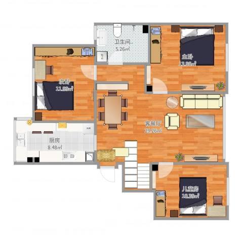 古城新境3室2厅1卫1厨99.00㎡户型图