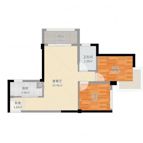 角美中骏四季阳光2室2厅1卫1厨61.00㎡户型图