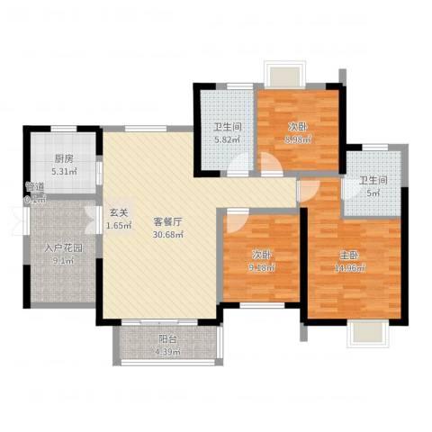 世纪城龙昌苑3室2厅2卫1厨93.53㎡户型图