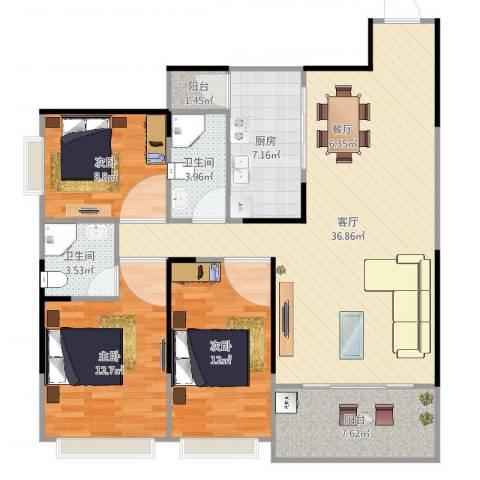 吉祥花园3室1厅2卫1厨118.00㎡户型图