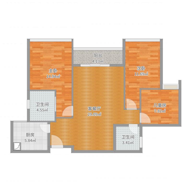 龙瑞佳园三房一厅主力户型