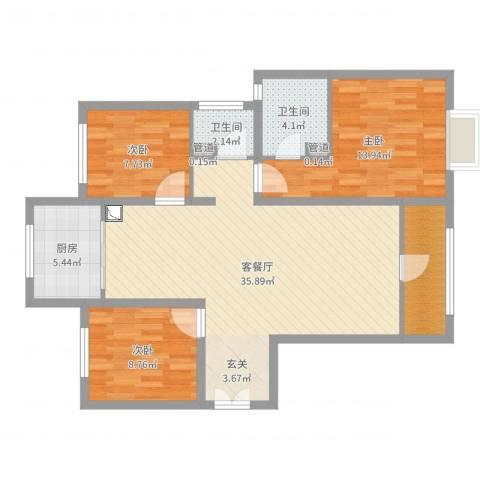西荣阁3室2厅2卫1厨104.00㎡户型图