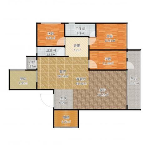 春江花月3室2厅2卫1厨176.00㎡户型图