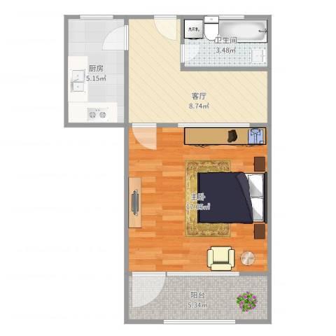 宝林六村1室1厅1卫1厨55.00㎡户型图