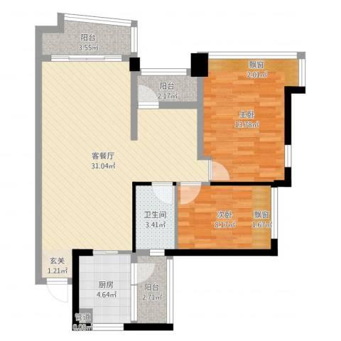 雅居乐曼克顿山2室2厅1卫1厨101.00㎡户型图