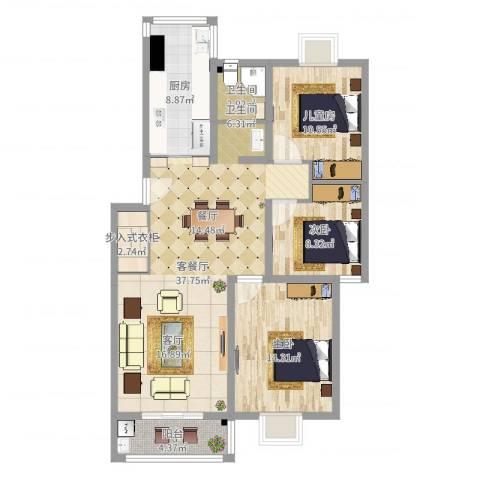 水榭华庭3室2厅1卫1厨109.00㎡户型图