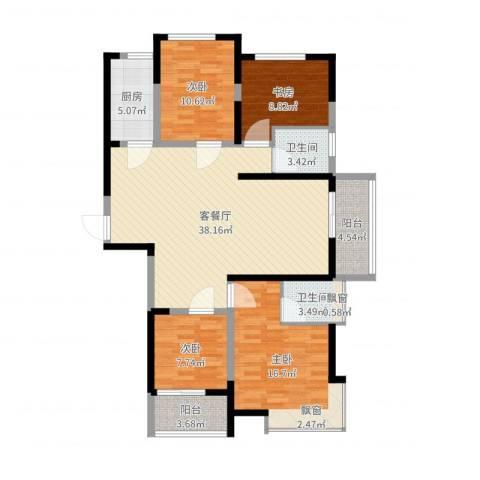 鸿泰嘉园三期4室2厅2卫1厨128.00㎡户型图