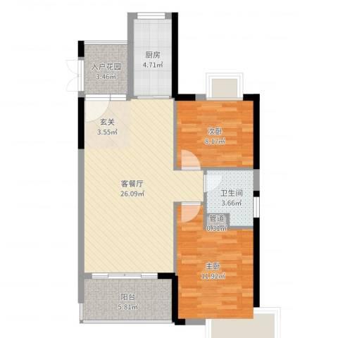 东方豪苑二期星钻2室2厅1卫1厨80.00㎡户型图