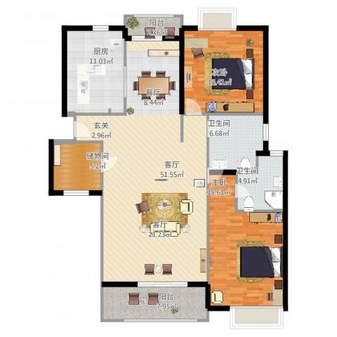 虹桥晶典苑2室1厅2卫1厨170.00㎡户型图